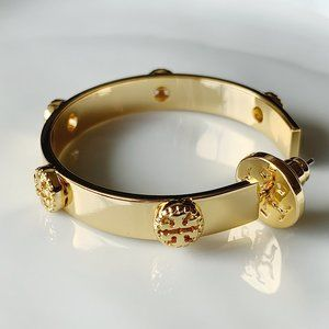 Tory Burch signature gold hoop earrings